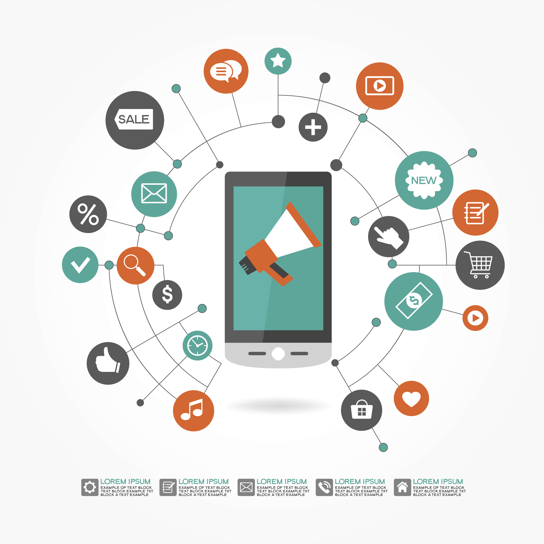 Mobile Marketing Concept with Smart Phone and Icons