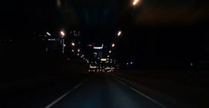 Drive through the city at night